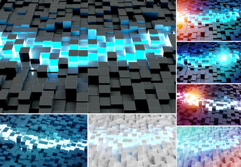 3D Squares Background Set