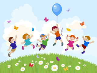 Canvas Prints River, lake Vector illustration of happy kids jumping together.