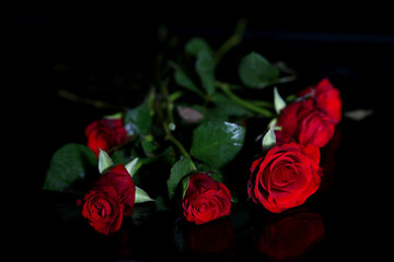 Bouquet of red roses on a black background