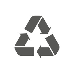 Recycle icon vector. Style is flat symbol, gray color, rounded angles, white background. Recycle icon page symbol for your web site design recycle icon logo, app, UI. EPS10.