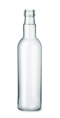 Front view of empty glass bottle