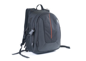 Black camera backpack isolated on white background