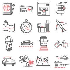Tour and travel outline icon set. Public transportation symbol, tourism line icons on white background