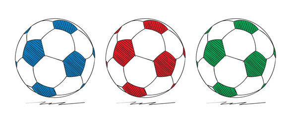 hand-drawn colored football vector