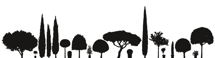 Vektor Silhouetten Pflanzen und Bäume Sortiment für den Garten mit Topfpflanzen vor weißem Hintergrund