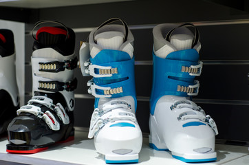 Ski boots for sale in the store.