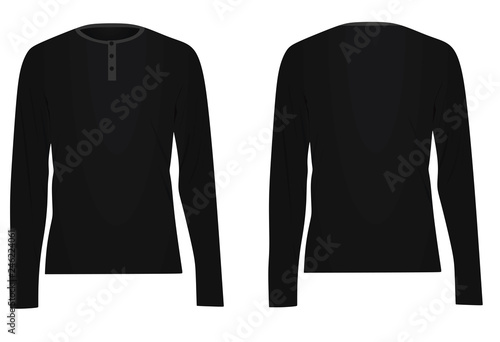 8b0312d05ad9 Black long sleeved t shirt. vector illustration