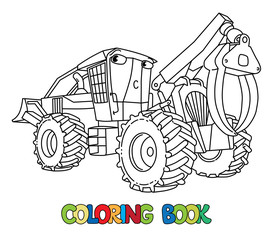 Funny skidder car with eyes coloring book