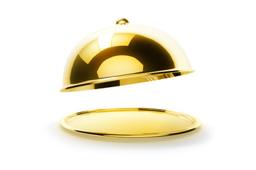 Waiter holding gold tray with cover on white background. Empty restaurant cloche with open lid. 3d illustration.