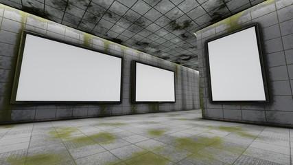 Big horizontal and vertical blank billboards in underground, 3D rendering