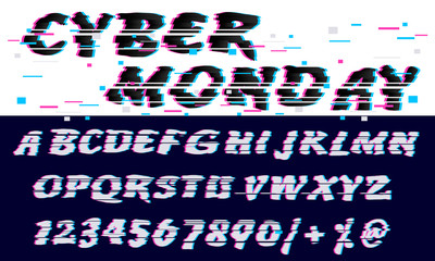 Trendy Glitch distorted font letters and numbers. Vector set with broken pixel effect,old distorted TV matrix effect. Video game alphabet in retro style