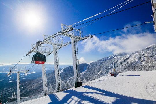 Top of the Stowe Mountain Resort gondola lift, Stowe, Vermont, USA