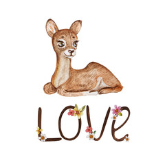 """Postcard for Valentine's Day with the inscription """"Love"""" and a cute fawn, designed to be printed on souvenirs, cards, invitations. Handmade watercolor."""