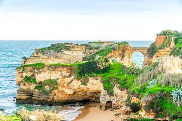 Foto op Canvas Blauw Student's beach in Lagos, Algarve, Portugal
