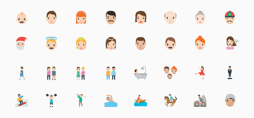 Set of avatars of happy people of different positions and age. Portraits of men and women. Vector illustration in cartoon style, characters, emojis, emoticons set, collection.