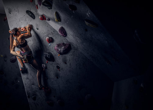 Back view of a young sporty woman climbing on practical rock wall indoors
