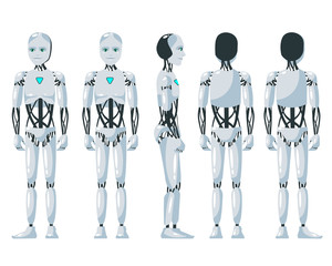Vector illustration of a  robotic man with the white background. Cartoon realistic humanoid robot.Flat robot. Front, side and back views. RPA Robotic progress automation concept illustration.