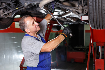 man mechanic engaged in car repair