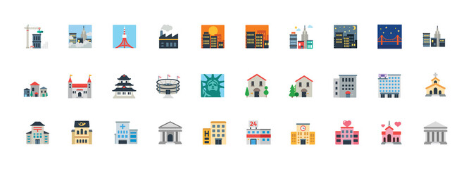 Buildings construction, hospital, school, monuments, church, stadium vector symbols. Buildings, landmarks illustration icons, emoji, emoticons set, collection.
