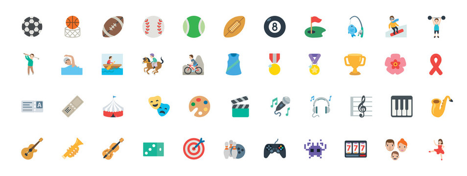 Sports, music instruments, games vector illustration symbols set. All type of balls, activities icons, emoticons set, collection.