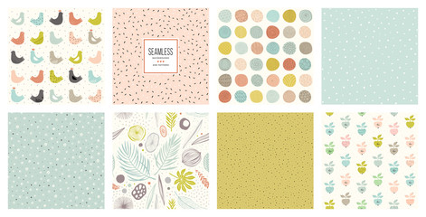 Creative seamless patterns and prints set. For fashion kid's wear, T-shirts, posters, cards, scrapbooking, birthday and party invitations.
