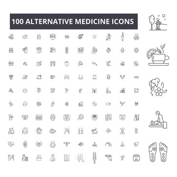 Alternative medicine editable line icons, 100 vector set on white background. Alternative medicine black outline illustrations, signs, symbols