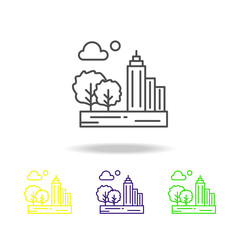 City, cloud, moon, tree colored icon. Can be used for web, logo, mobile app, UI, UX