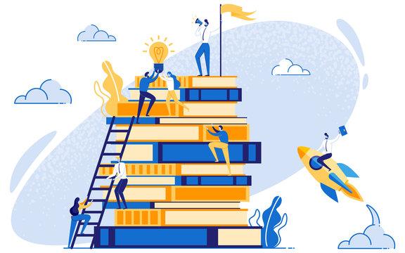 Businessman on Books Education and Leadership.