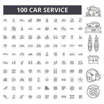 Car service editable line icons, 100 vector set on white background. Car service black outline illustrations, signs, symbols