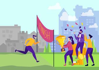 Businessman Running Race for Financial Success.