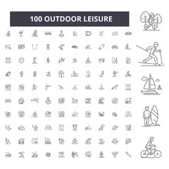 Outdoor leisure editable line icons, 100 vector set on white background. Outdoor leisure black outline illustrations, signs, symbols