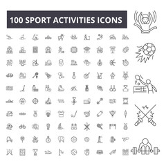 Sport activities editable line icons, 100 vector set on white background. Sport activities black outline illustrations, signs, symbols