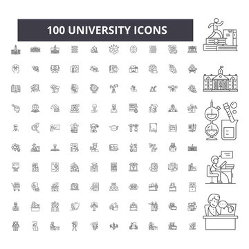 University editable line icons, 100 vector set on white background. University black outline illustrations, signs, symbols