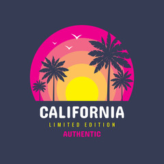 California - concept logo badge vector illustration for t-shirt and other design print productions. Summer, sunset, palms, surfing, sea waves. Tropical paradise. Long beach. Limited edition. Authentic