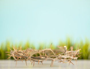 a crown of thorns and grass easter background