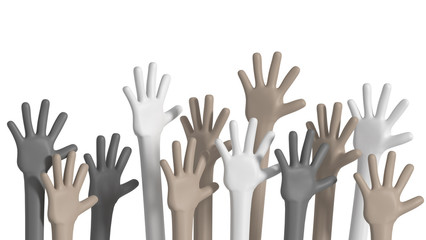 multiethnic hands raised up diversity concept