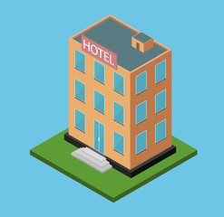 Hotel building. Isometric flat design. Vector