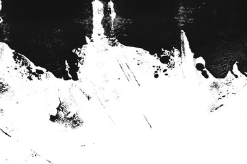 Dirty, grunge style messy texture made with fingers and dry brushes. Chaotic random graphic element for different design projects, posters, banners and social media posts promo designs. Black ink