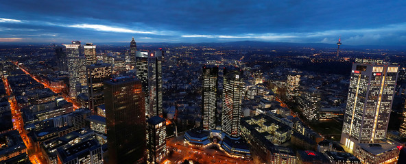 The financial district with the headquarters of Germany's largest business bank, Deutsche Bank , is photographed on early evening in Frankfurt
