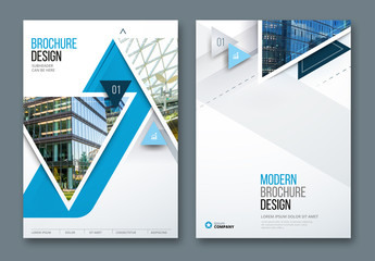 Blue Accent Business Report Cover Layouts with Triangles