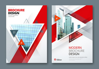 Red Business Report Cover Layouts with Big Triangles
