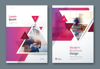 Pink and Blue Business Report Cover Layouts with Triangles