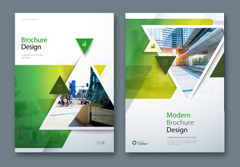 Green Business Report Cover Layouts with Triangles