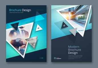 Teal Business Report Cover Layouts with Triangles
