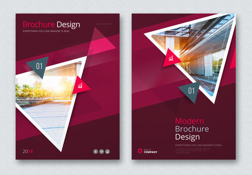 Dark Business Report Cover Layouts with Triangles