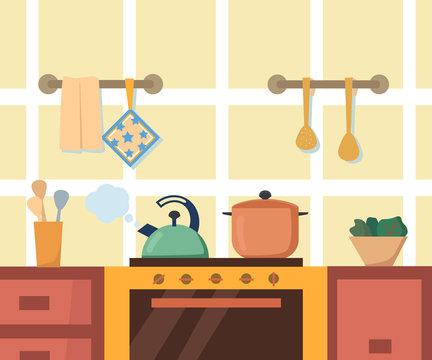 Kitchen interior with cupboard, stove, oven, teapot and utensils. Flat cartoon style vector illustration.