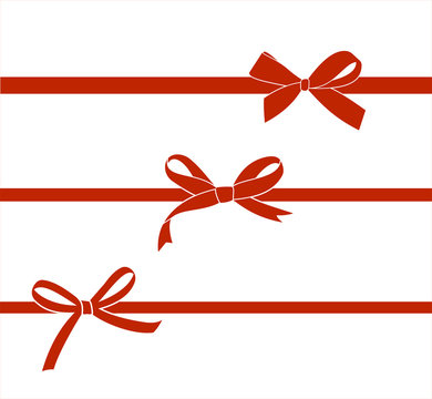 Set of red satin bow isolated on white. Vector gift bows  for page decor.