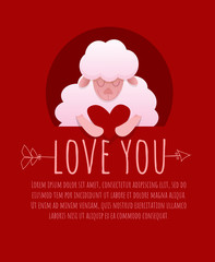 Vector for Valentine's day. Symbol of love on red backround. Cute romantic lamb with heart. Typography design for print greeting card, postcard, posters, banner, invitation. Can be add text. Love you