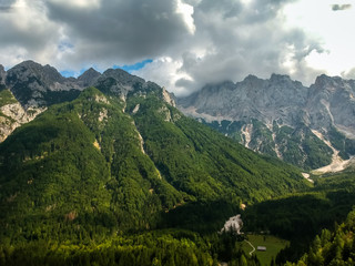 Aerial view of beautiful Triglav mountains, part of Alps in Slovenia