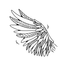 One wing isolated on white background. Cartoon vector illustration.  Can be used as stickers, prints, etc.